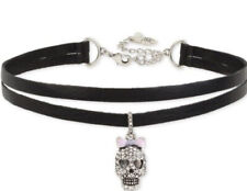 $32 NWT BETSEY JOHNSON SILVER TONE PAVE SKULL CHARM FAUX LEATHER NECKLACE- JC310