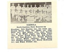 Glenola North Carolina 1953 Baseball Team Picture