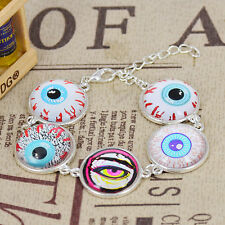 Mix Evil Eyes Handmade Glass Cabochon Chain Bracelet Silver Plated/ US Seller