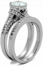 T.W. Simulated Moissanite Wedding Set Size 7 18K White Gold On Silver 2.5 Carat