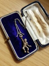 Antique Victorian Silver Hanging Monkey Rare Brooch