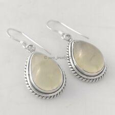 Solid 925 Sterling Silver Natural Prehnite Gemstone Earrings Handmade Jewelry