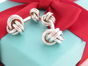Tiffany & Co Silver 925 Double Knot Cufflinks Cuff Links Packaging MSRP $500