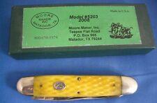 MOORE MAKER FOLDING POCKET KNIFE, EVEN ENDED TRAPPER, JIGGED YELLOW BONE
