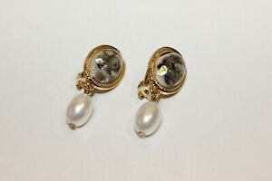 Ohclips NEU Ohrringe Gold Weiß Perle Nickel Frei elegant oval Boho Clips Retro
