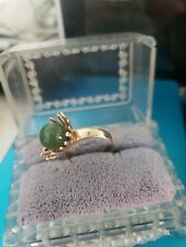 Vintage 14k Yellow Gold Jadeite jade Ring Jewels of the Orient 4.3 G