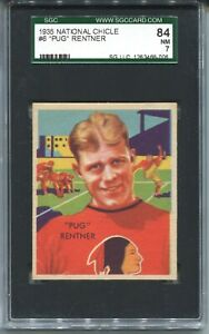 1935 National Chicle Football #6 Pug Rentner Rookie Card RC SGC 84