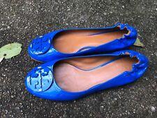 TORY BURCH BLUE PATENT LEATHER REVA BALLET FLATS SIZE 10.5