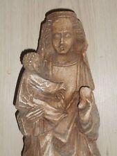 STATUE RELIGIEUSE: LA VIERGE A L'ENFANT JESUS /PLÂTRE PATINE/DEBUT XXème/H.41 cm