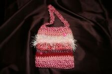 ladies small purse hand knit pink with button decorations