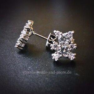Zauberhafte Zirkonia Teddy Baer Ohrstecker 925 Silber rhodiniert 11 x 9 mm