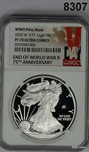 2020 W PRIVY MARK V75 END WWII NGC CERTIFIED PF70 ULTRA CAMEO PERFECT #8307