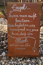 Edelrost Tafel Engel gewellt Spruch Garten Metall Tafel Rost Schild Text Eingang