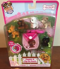 "Puppy In My Pocket Clip On Pouch Pink 5 Dog Pack 1.5"" Mini Figure Collectibles"