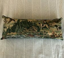 Pointer Setter Pheasant Hunting Dogs Brocade Tapestry Throw Pillow 24x9in EUC