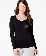 Alfani Women's Long Sleeve Solid Top Black with Satin Trim Size XXL New
