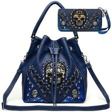Sugar Skull Punk Handbag Studs Concealed Carry Purse Women Shoulder Bag Wallet