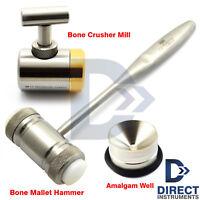 Dental Bone Mallet Hammer Bone Crusher Grinder Mill Bone Graft Well Implant Set