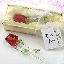 Glass Crystal Long Stem Red Rose Romantic Gift Idea Wife Girlfriend Boyfriend