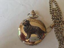 D4   Golden Retriever polished silver case mens GIFT quartz pocket watch fob