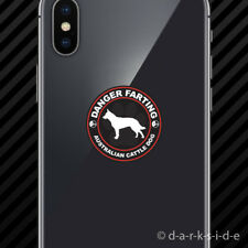 (2x) Danger Farting Australian Cattle Dog Cell Phone Sticker dog canine pet