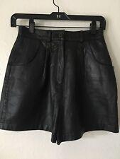 Vintage Boutique Europa 100% Leather Shorts Black Sz 4