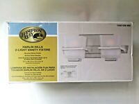 Hampton Bay Harlin Hills 2-Light Brushed Nickel Vanity Light with Etched Glass