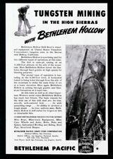 1947 Bethlehem Steel hollow drill mining miner mine photo vintage print ad
