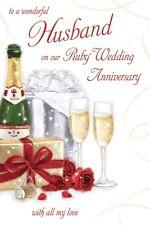 RUBY WEDDING ANNIVERSARY HUSBAND CARD 40 YEARS GOOD QUALITY BEAUTIFUL VERSE