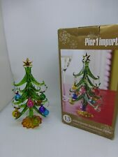 "Vintage Pier 1 Imports Glass Christmas Tree With 12 Wine Glass Charms 9"" Tall"