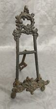 """Vintage Cast Iron Easel Picture Book Plate Holder 9 1/2"""" Tall x 1 1/2"""" Deep"""