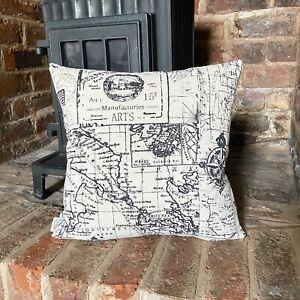 240. Vintage Sailing Map Natural LINEN Cotton Cushion Cover.Various sizes