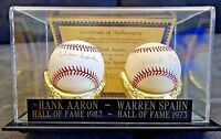 HANK AARON - WARREN SPAHN AUTOGRAPHED/SIGNED BASEBALLS IN DISPLAY CASE WITH COA