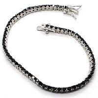 Tennis Bracelet, 925 Silver, Zircon Cubic Black, Brilliant Cut, 2 MM