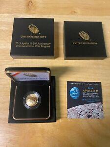 2019-W Apollo 11 50th Anniversary Proof $5 Gold Coin with US Mint BOX & COA