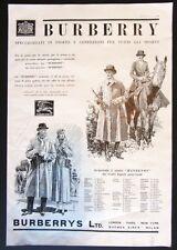 Pubblicità 1934 BURBERRY IMPERMEABILI MODA UOMO DONNA CAVALLI SPORT CACCIA