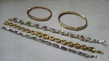 Vintage And Modern Rhinestone Bracelet And Bangle gold tone