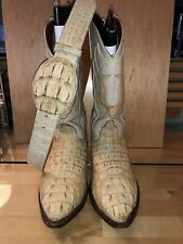 Mens Off White Crocodile Cowboy Boots Black Diamond USA Genuine Leather W/ Belt