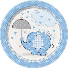 Baby Shower Boy Umbrella Elephant Blue Party Supplies Paper Plates Small 8pk