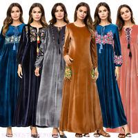 Women Velvet Robe Muslim Abaya Embroidered MaxiDress Cocktail Jilbab Kaftan Gown