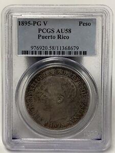 1895-PG V Peso Puerto Rico AU58 PCGS