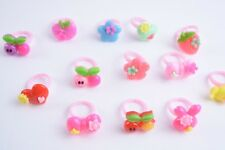 12 PARTY GAME RINGS PARTY FAVORS HEART CHERRIES BOW FLOWER PINK RED BLUE YELLOW