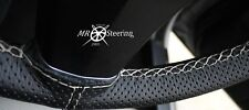 FOR RENAULT MEGANE 95-03 PERFORATED LEATHER STEERING WHEEL COVER WHITE DOUBLE ST