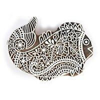 IN Legno Stampa Blocchi Indiano Intagliato a Mano Tessuto Timbri Pesce Disegni