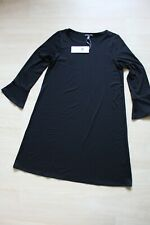 Eileen Fisher Long Sleeve Round-Neck Bell-Sleeve Dress Black size PS