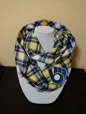 Milwaukee Brewers Infinity Scarf Blue White yellow flannel Girl Fashion Chevron