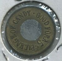 Good For One 5 Cent 5C Package of Candy Trade Token - Filled In Center Hole