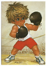 CPSM 016 MICHEL THOMAS GAMIN TITI ENFANT BOXE RING GANT ROUND GONG COMBAT SPORT