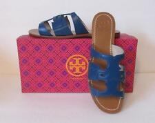 Tory Burch Anchor T Flat slide Baltic Sea blue leather sandal 7 logo teal new