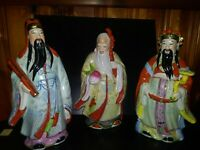 Vintage Chinese 3 Wiseman Hand Painted Figurines
